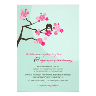Cherry Blossoms Sakura Love Birds Wedding Invite