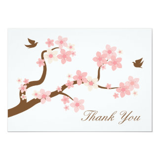 Cherry Blossoms Thank You Note 13 Cm X 18 Cm Invitation Card