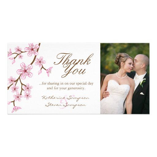 Cherry Blossoms Thank You Photo Card
