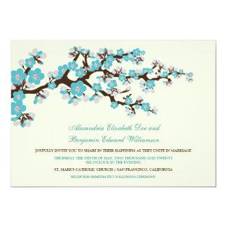 "Cherry Blossoms Wedding Invitation (aqua) 5"" X 7"" Invitation Card"