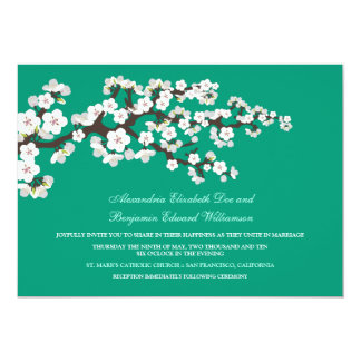 Cherry Blossoms Wedding Invitation (emerald)