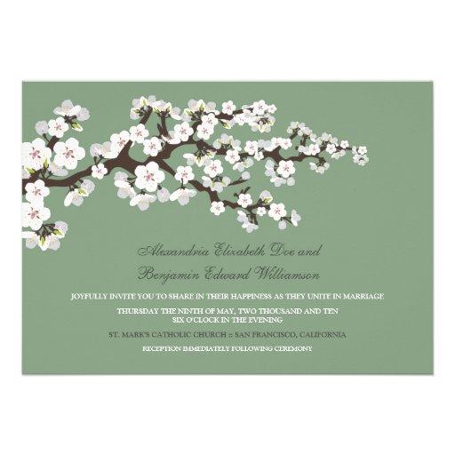 Cherry Blossoms Wedding Invitation (sage green)