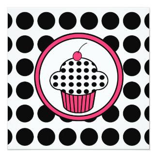 Cherry Cupcake Invitation Polka Dot /Pink & Black