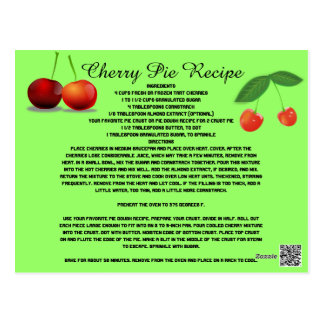 Cherry Pie Recipe Fruit Sweets Dessert Cook Postcard
