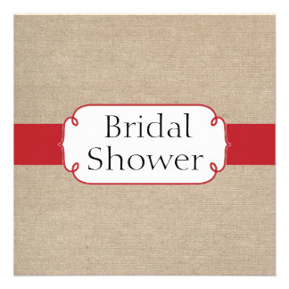 Cherry Red and Beige Burlap Bridal Shower Invite