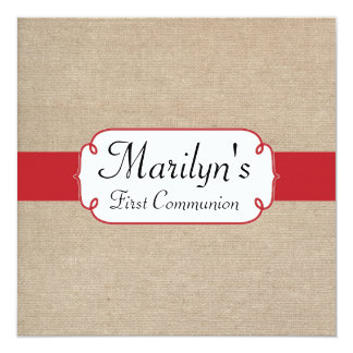 Cherry Red and Beige Burlap First Communion Card