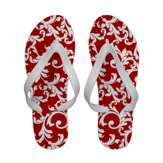 Cherry Red Damask Print Flip-Flops