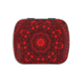 Cherry Red Floral Damask Jelly Belly Tins