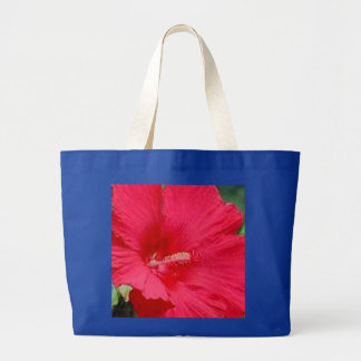 Cherry Red Hibiscus Fashion Large Tote Bag