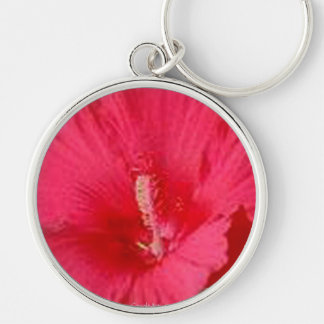 Cherry Red Hibiscus Fashion Silver-Colored Round Key Ring
