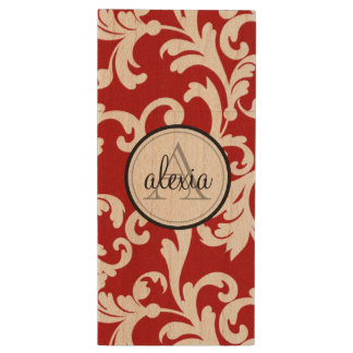 Cherry Red Monogrammed Damask Wood USB 2.0 Flash Drive