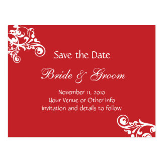 Cherry Red Personalized Flourish Save the Date Postcard