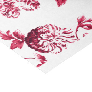 Cherry Red Vintage Floral Toile No.2 Tissue Paper
