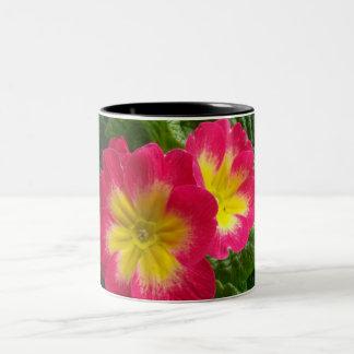 Cherry Red Yellow Primroses Two-Tone Mug