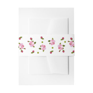 Cherry Tree Flowers Invitation Belly Band