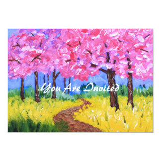 Cherry Trees Field Mustard After the Rain Painting 13 Cm X 18 Cm Invitation Card