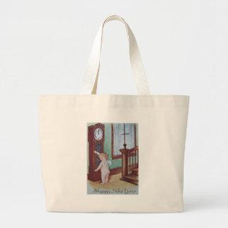 Cherub Angel Cupid Grandfather Clock Jumbo Tote Bag
