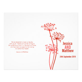 Chervil graphic red flower Wedding Programme