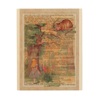 Cheshire cat and Alice Wood Wall Art