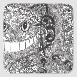Cheshire Cat Design Square Sticker