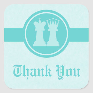 Chess King and Queen Thank You Stickers, Aqua Square Sticker