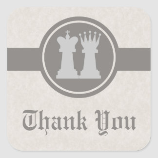 Chess King and Queen Thank You Stickers, Gray Square Sticker