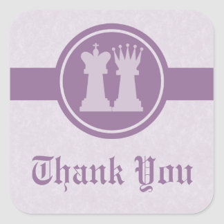 Chess King and Queen Thank You Stickers, Purple Square Sticker