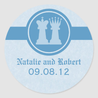 Chess King and Queen Wedding Stickers, Blue Classic Round Sticker