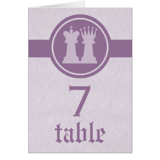 Chess King and Queen Wedding Table Card, Purple Card