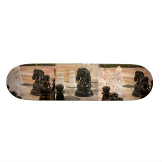 Chessboard and chess pieces skateboard