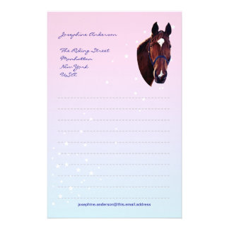 Chestnut Horse with White Star Writing Paper Personalised Stationery