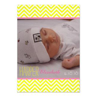Chevron Baby Girl Birth Announcement