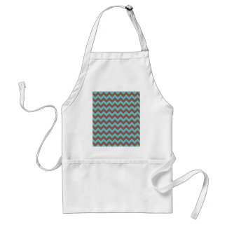 Chevron Blue Curacao And Coffee Brown Adult Apron