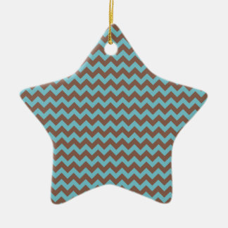 Chevron Blue Curacao And Coffee Brown Ornaments