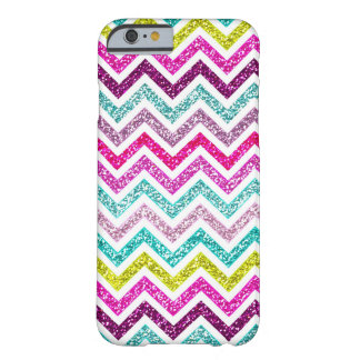 Chevron Faux Glitter Rainbow Coloful Girly Bling Barely There iPhone 6 Case