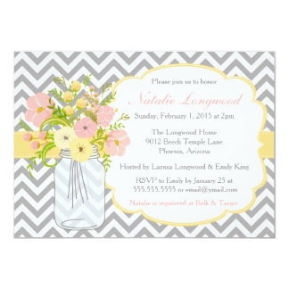 Chevron Floral Bridal or Baby Shower Invitation