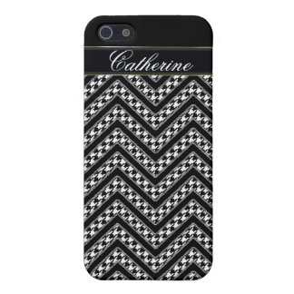 chevron houndstooth black white iphone 5 case