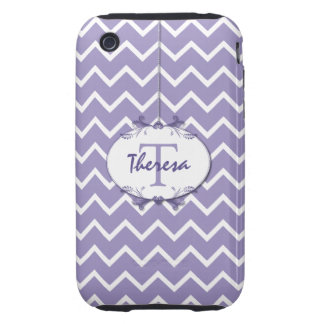 Chevron in Mauve and White with Floral Frame Tough iPhone 3 Covers