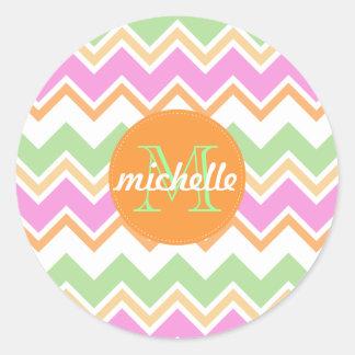 Chevron Orange Pink Green Monogram Circle Stitch Round Sticker