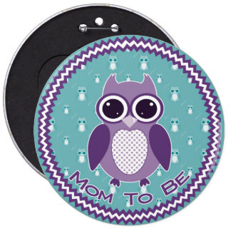 Chevron Owl Baby Shower Mom-to-be Button