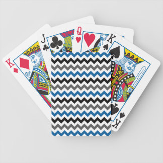 Chevron Pattern Background Blue Gray Black White Bicycle Playing Cards
