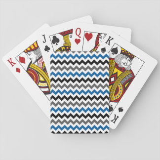 Chevron Pattern Background Blue Gray Black White Playing Cards