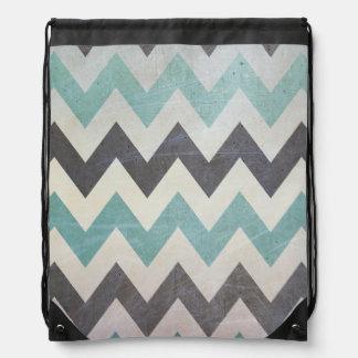 Chevron Pattern On Metal Texture by Shirley Taylor Drawstring Bag