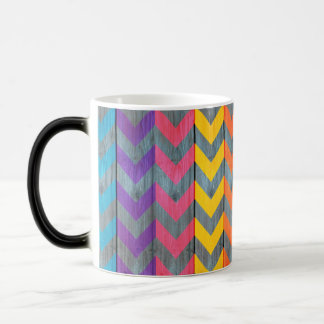 Chevron Pattern On Wood Texture by Shirley Taylor Magic Mug