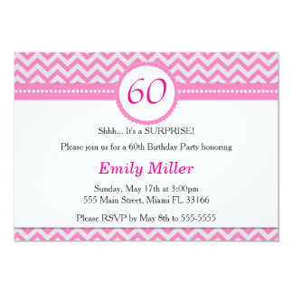 Chevron Pink Silver Birthday Party Invitation