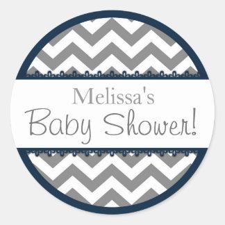 Chevron Print and Navy Contrast Baby Shower Round Sticker