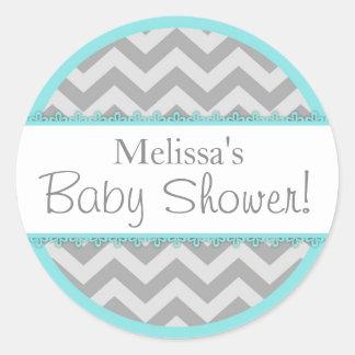 Chevron Print & Aqua Contrast Baby Shower Round Sticker
