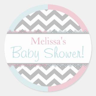 Chevron Print Baby Blue Pink Contrast Baby Shower Round Sticker