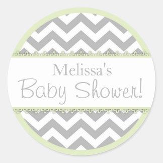 Chevron Print & Mint Green Contrast Baby Shower Round Sticker