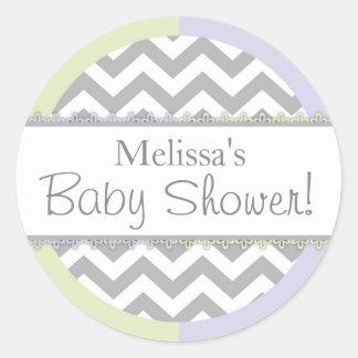 Chevron Print Mint Lavender Contrast Baby Shower Round Sticker